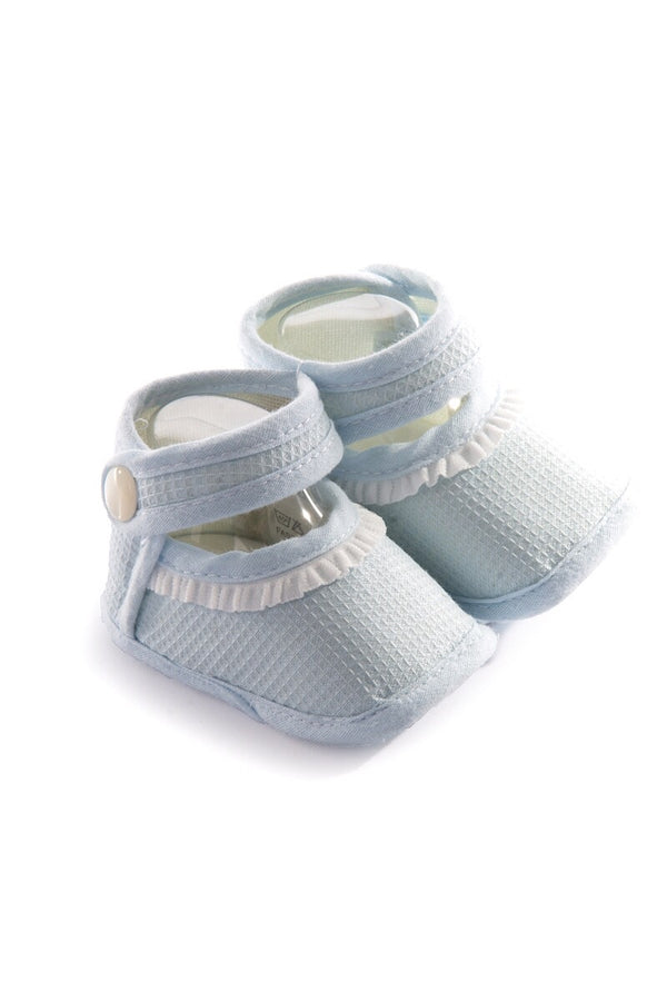 Pex Blue Frill Textured Booties