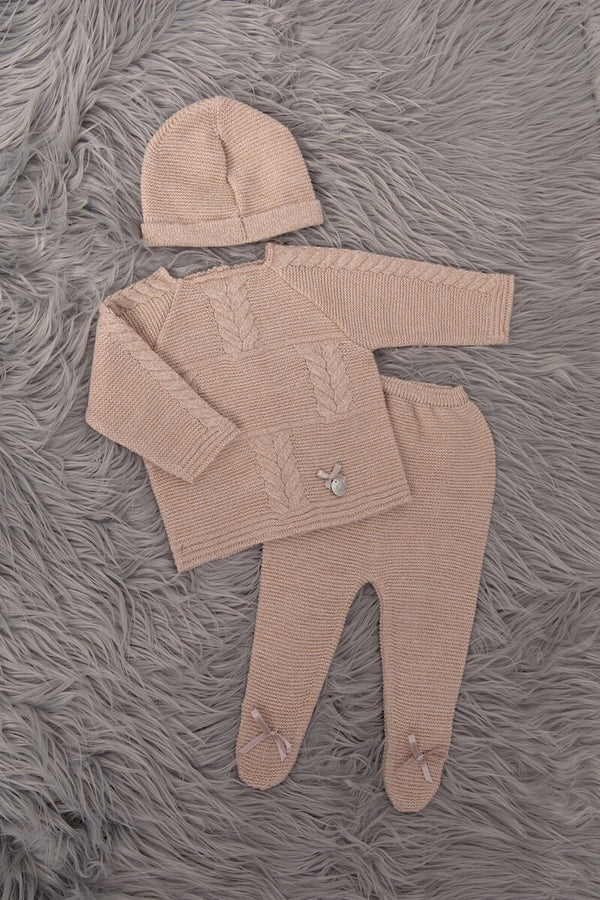 Camel Knitted Cable Bow Top And Pants With Hat