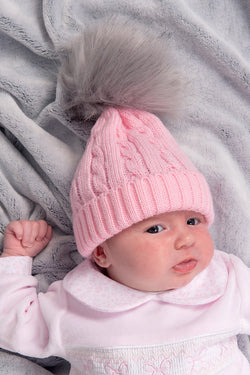 b3f685f1037 Pink Cable Knitted Hat With Light Grey Pom Pom – Jacob Matthews