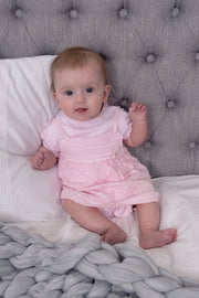 Pink Smocked Embossed Two Piece Romper