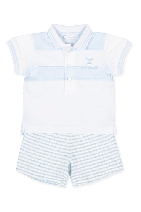 Blue Stripe Polo And Shorts