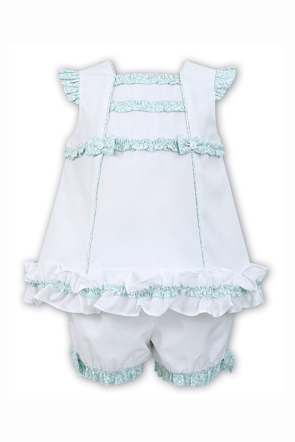 Sarah Louise White And Mint Frill Top And Shorts