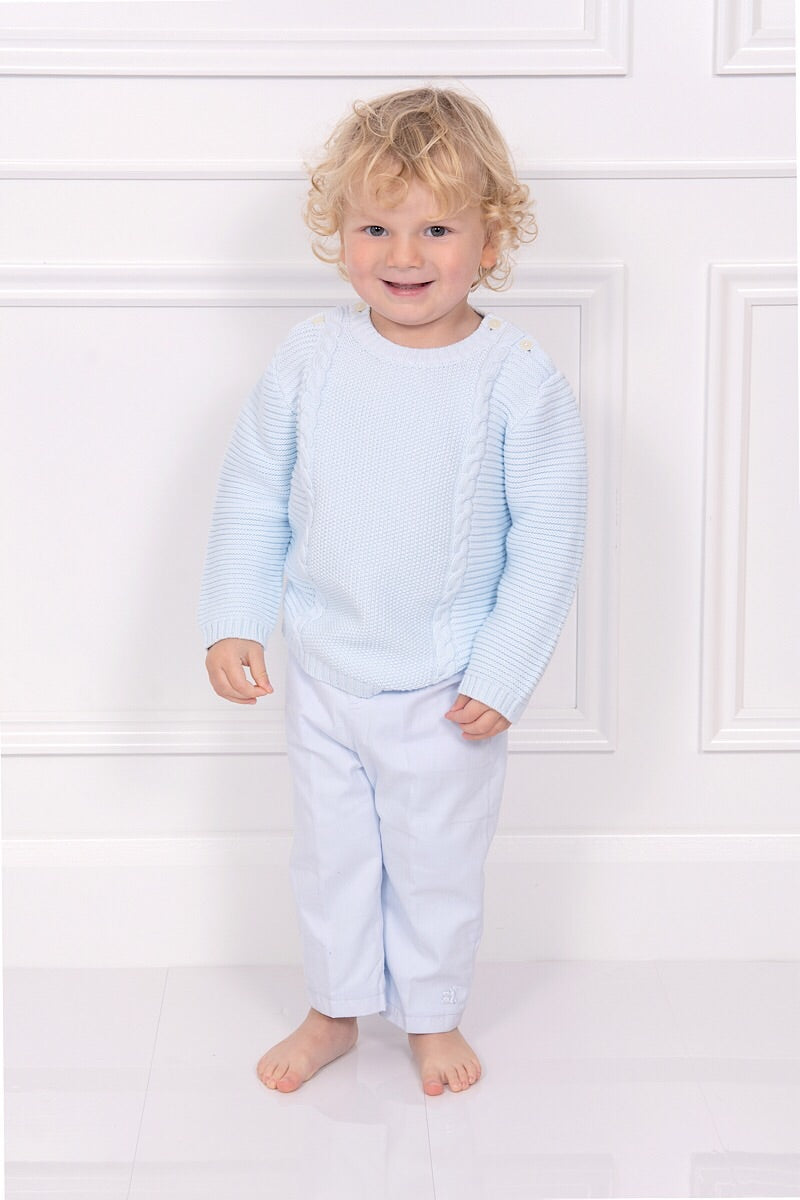 Emile Et Rose Blue Knitted Cable Top And Pants
