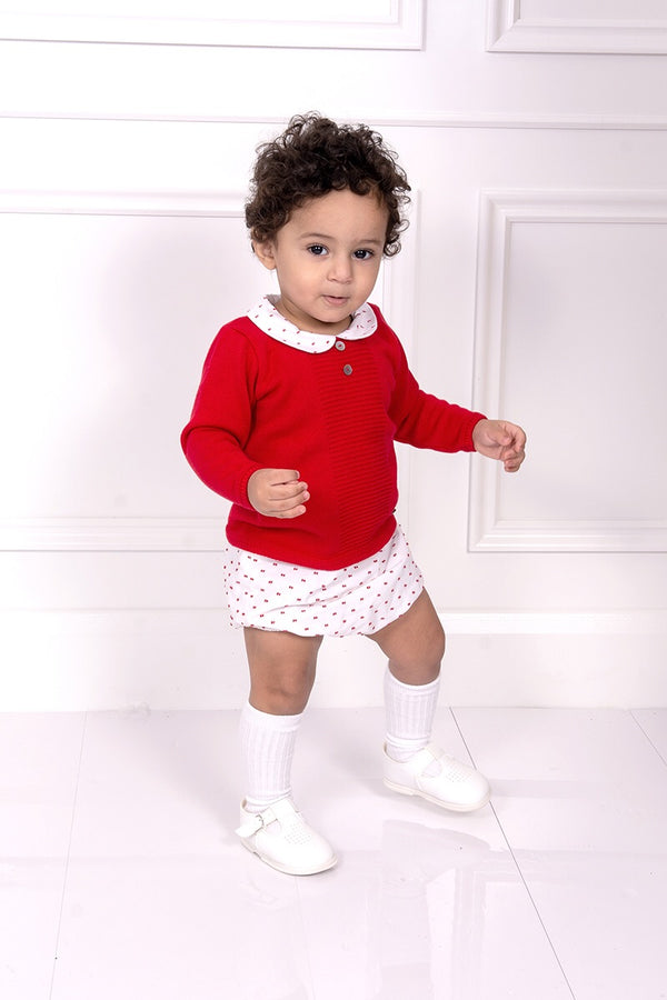 Granlei Red And White Embossed Bow Top And Shorts