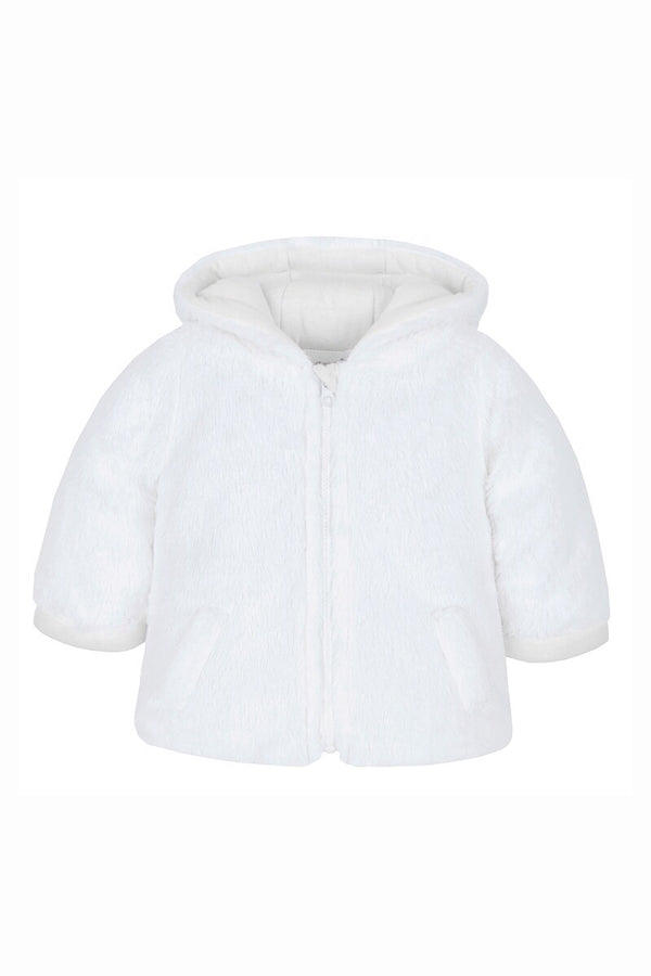 White Fur Hooded Zip Coat