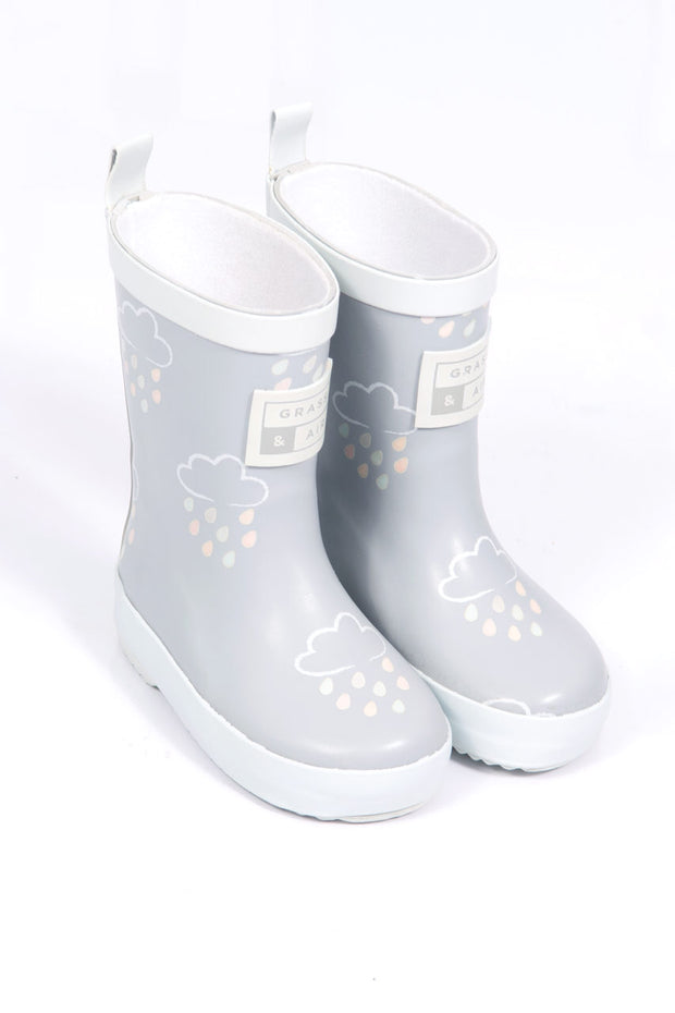 Grey Colour Revealing Wellington Boots With Bag