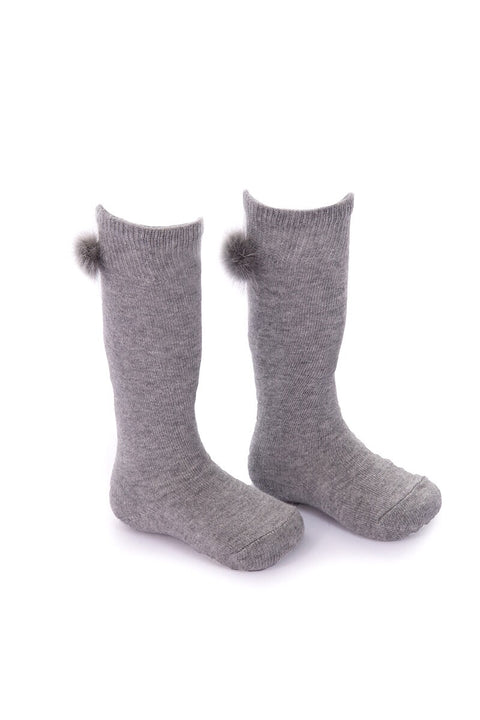 Spanish Grey 3/4 Fur Pom Pom Socks