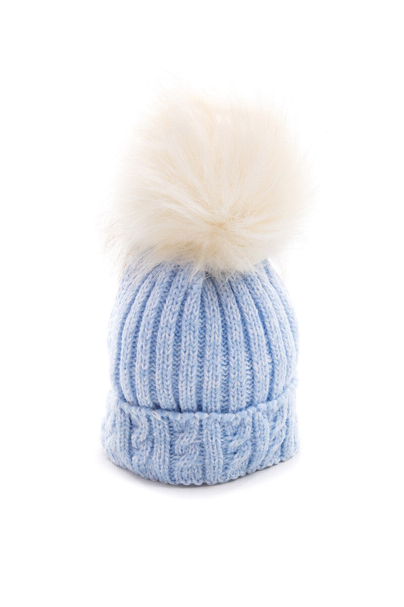 Blue Knitted Cable Hat With Cream Fur Pom Pom