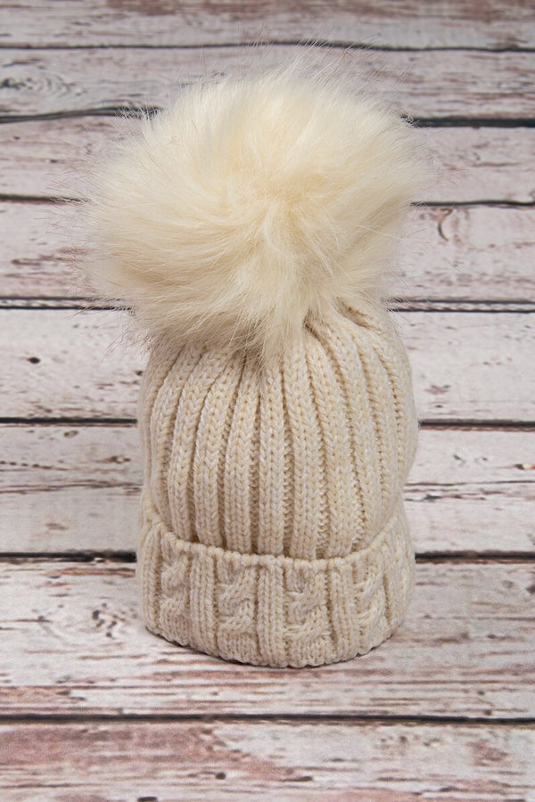 Beige Knitted Cable Hat With Cream Fur Pom Pom