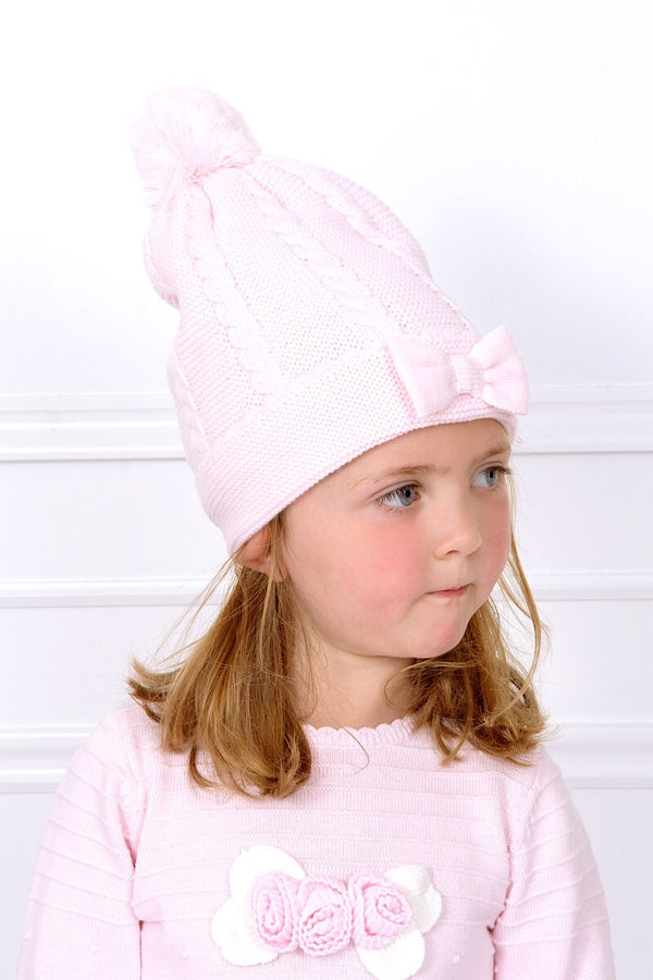 Sarah Louise Pink Cable Knitted Hat