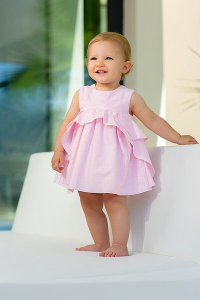 Tutto Piccolo Pink Frill Embossed Dress