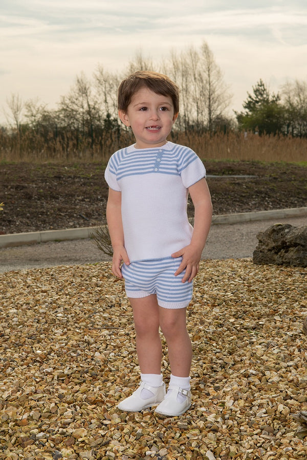 Jacob Matthews Knitted White And Blue Striped Outfit