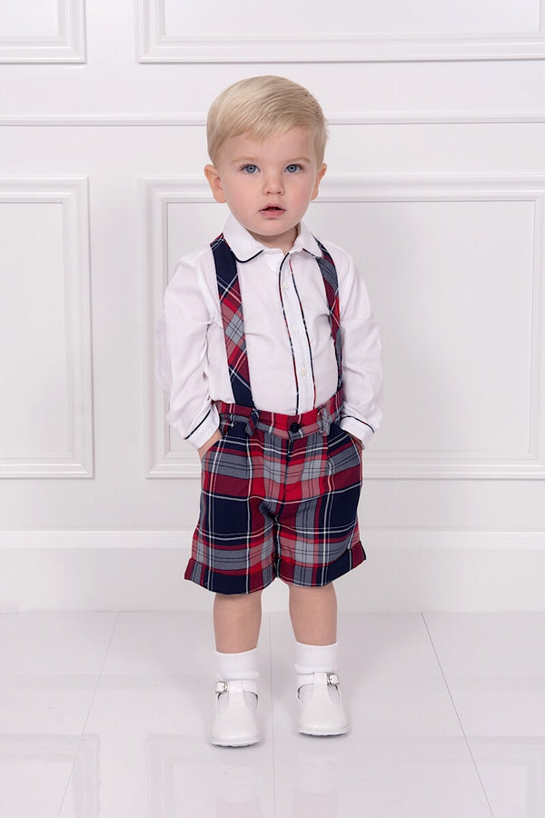 Patachou Tartan Braced Shorts With Tartan Trim Shirt
