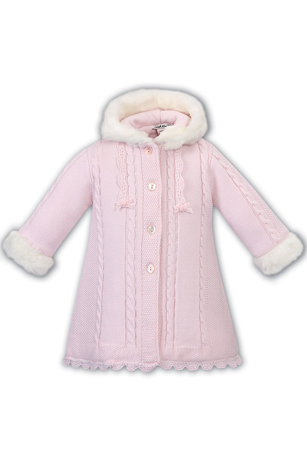 Pink Knitted Cable Coat