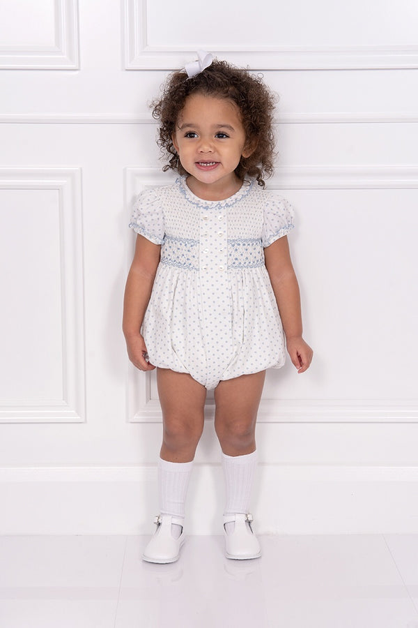 Sarah Louise Traditional Spot Smocked Romper