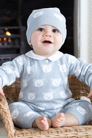 Grey Bear Knit Romper With Hat
