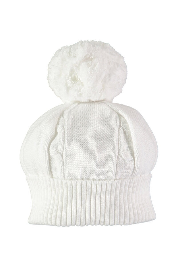White Knitted Pom Pom Hat