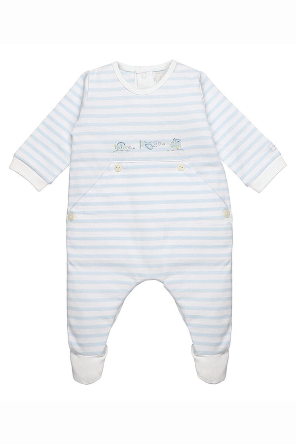 Emile Et Rose Blue Stripe Embroidered All In One