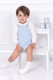 Blue Corduroy Romper With Shirt