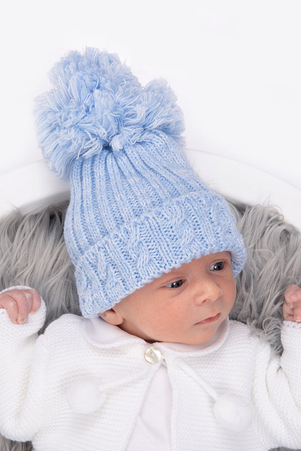 Blue Knitted Cable Pom Pom Hat