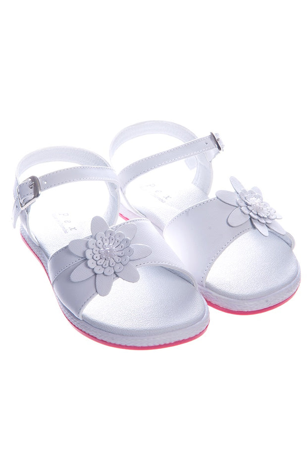 White Large Flower Hard Sole Sandals