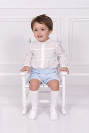 Ivory And Blue Smocked Two Piece Outfit