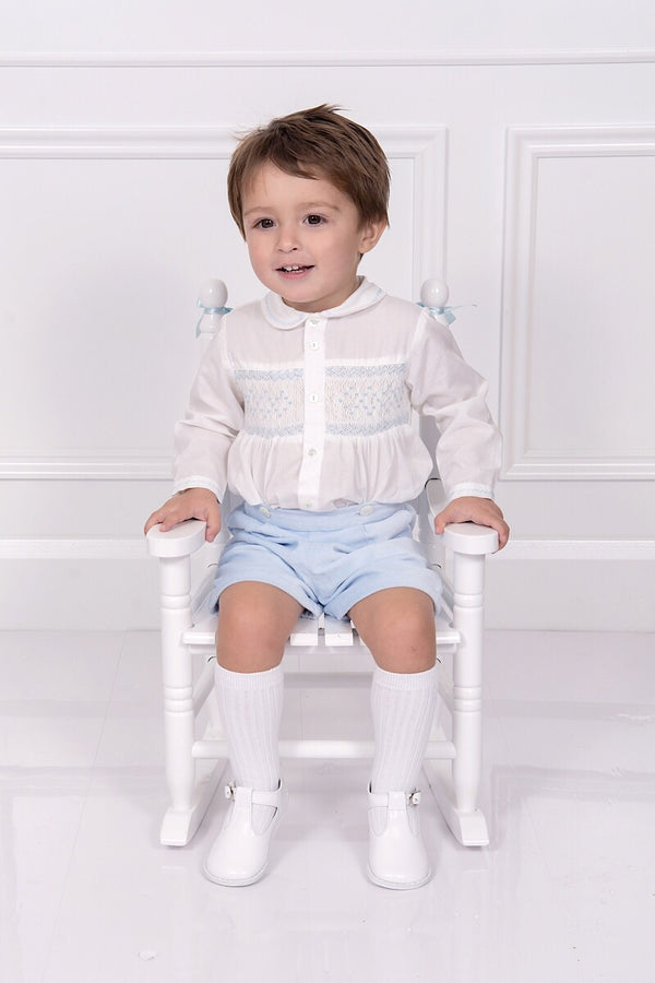Sarah Louise Ivory And Blue Smocked Two Piece Outfit