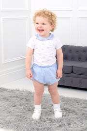 Blue Elephant Design Top And Shorts