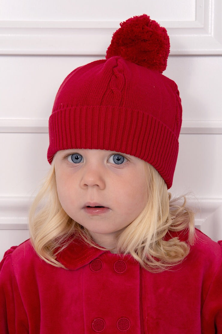 Emile Et Rose Red Knitted Bobble Hat