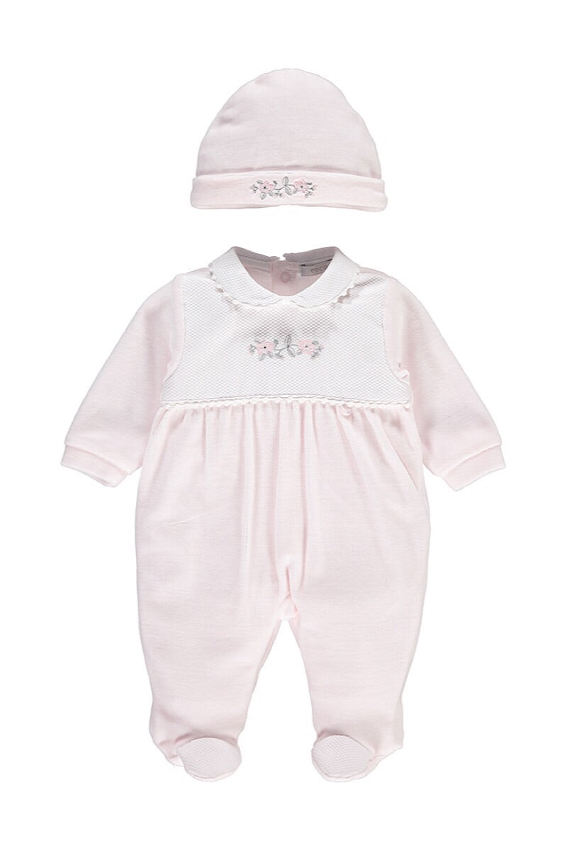 Coco Pink Velour Diamante Floral All In One And Hat