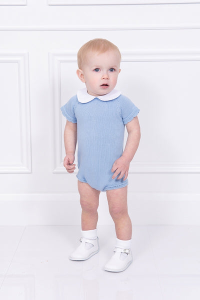 Jacob Matthews Blue Knitted Romper