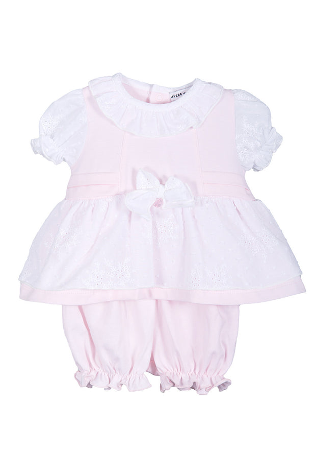 Pink Pleat Broidre Angliase Top And Bloomers