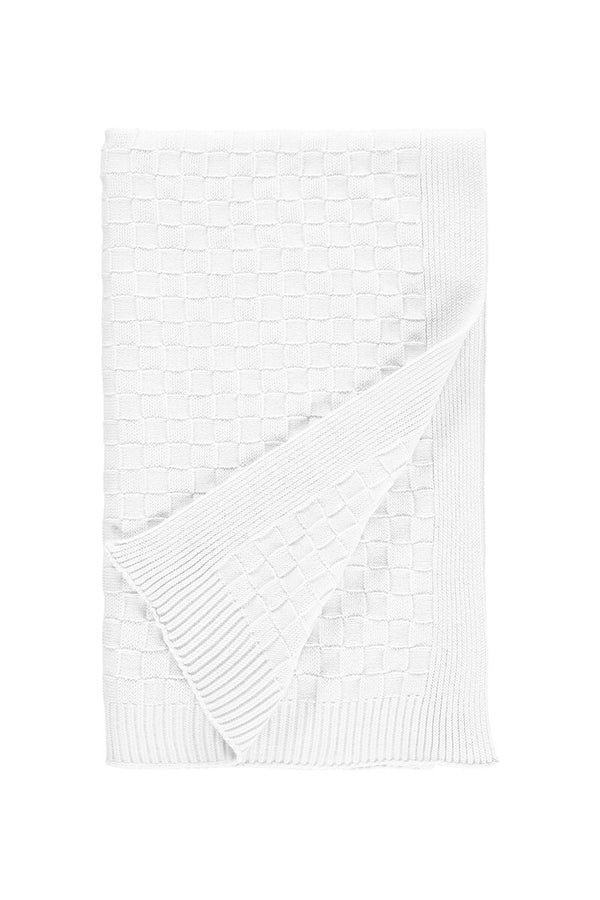 Emile Et Rose White Knitted Criss Cross Blanket