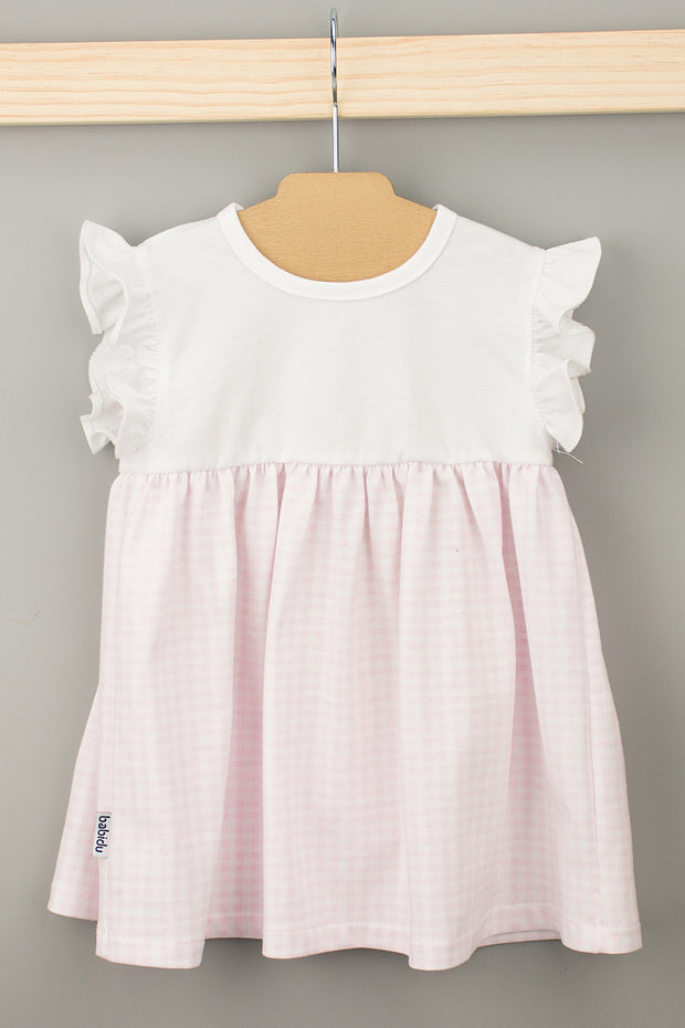 Pink Frill Check Dress