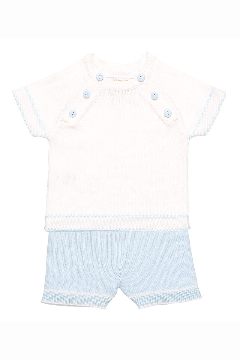Emile Et Rose Blue Knit Top And Shorts