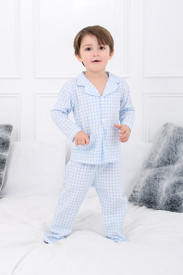 Blue Check Button Pyjamas