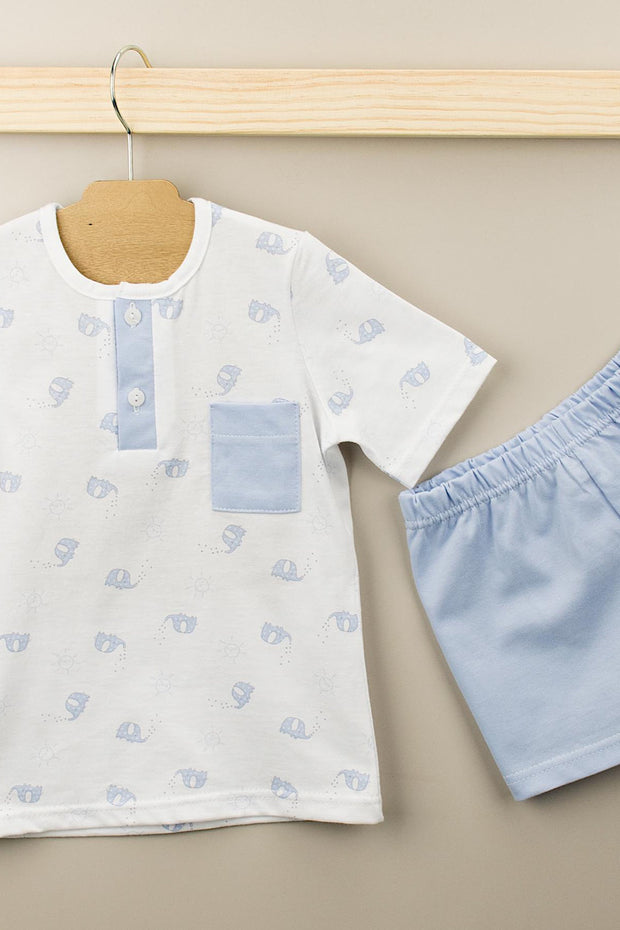 Blue And White Elephant Design Top And Shorts