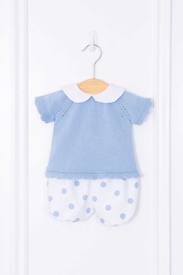 Jacob Matthews Blue Knitted Top And Spotted Shorts