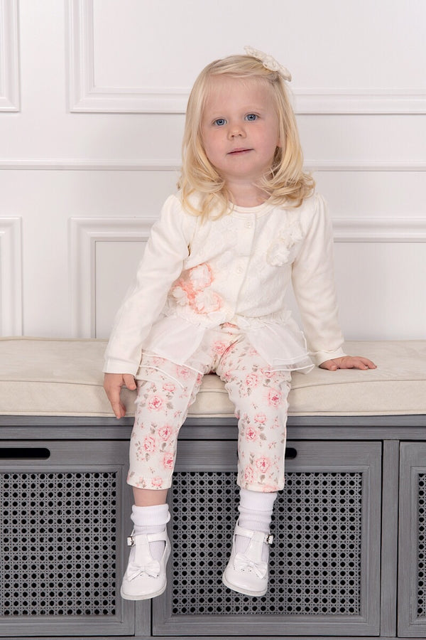 Mintini Floral Laced Cardigan, Leggings And Bodysuit