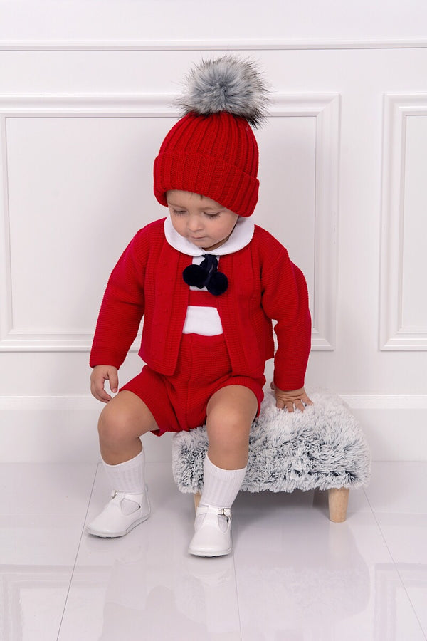 Red And Navy Knitted Pom Pom Cardigan And Braced Shorts