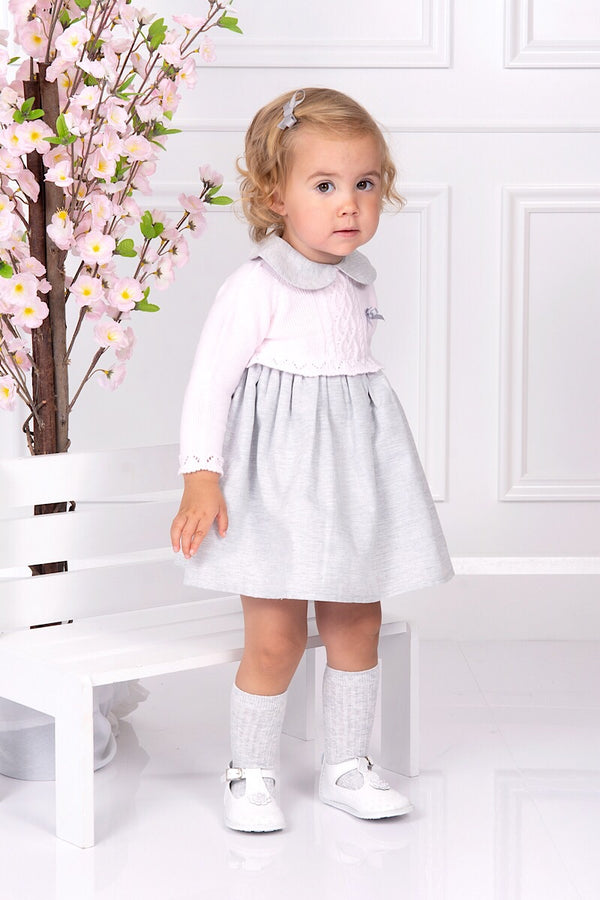 Jacob Matthews Pink And Grey Cable Knit Dress