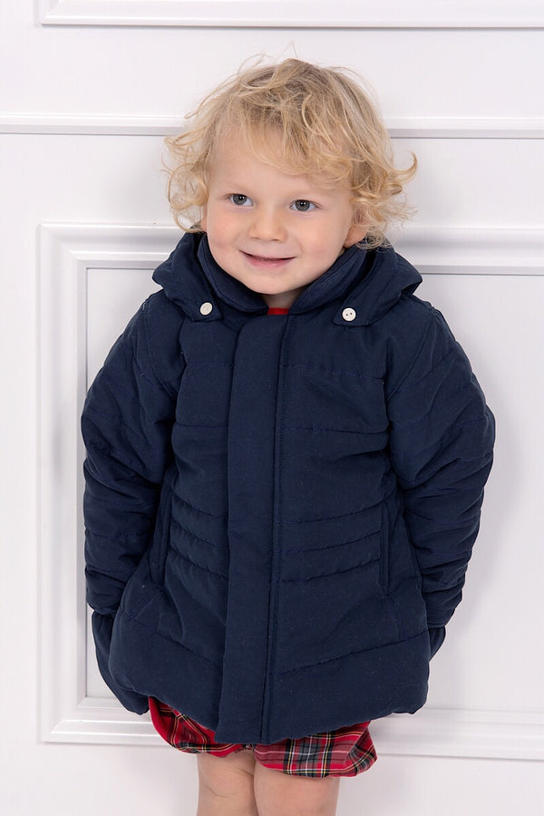 Emile Et Rose Navy Jacket With Detachable Hood And Mittens