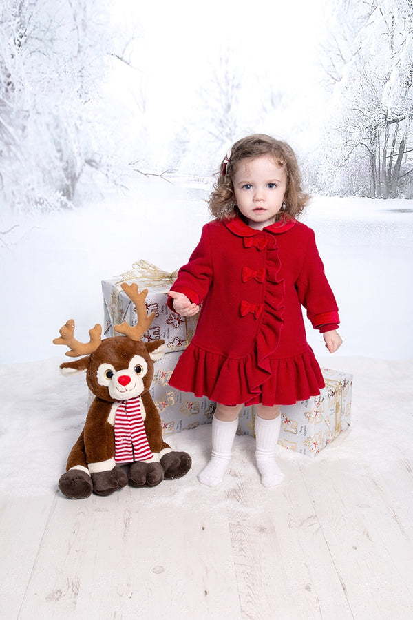 Sarah Louise Red Traditional Wool Frill Hemmed Coat And Hat
