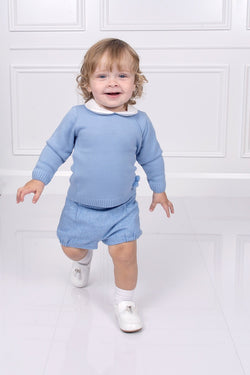 Granlei Pom Pom Jumper With Brushed Cotton Blue Shorts