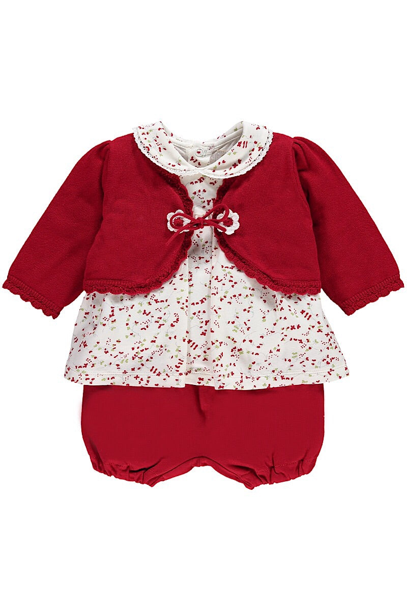 Emile Et Rose Red Floral Print Three Piece Set