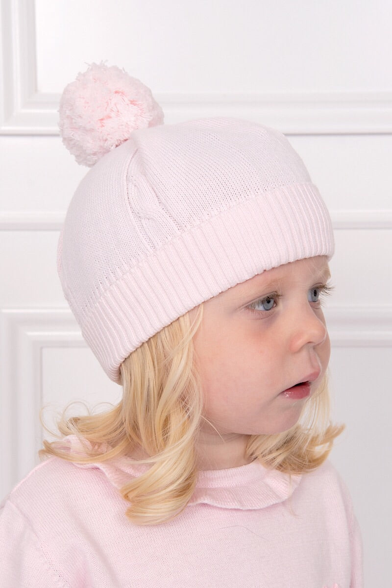 Emile Et Rose Pink Knitted Bobble Hat