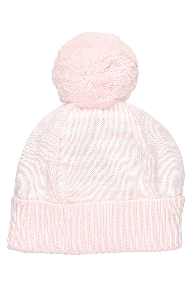 Pink Knit Stripe Pom Pom Hat