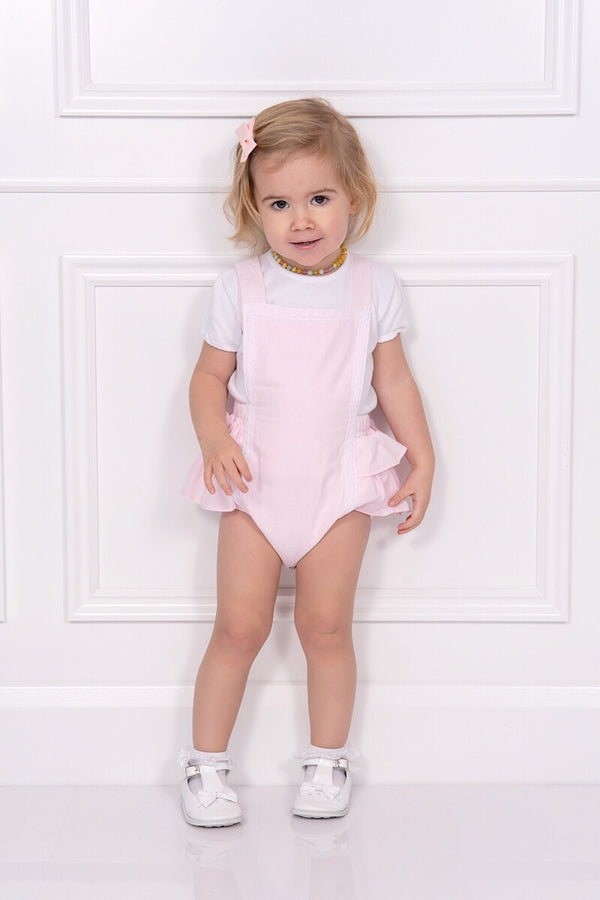 Babidu Pink Laced Romper With Ruffle Detail