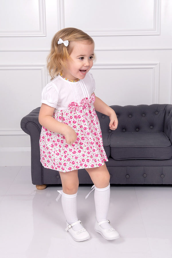 Pink And White Rose Detailing Dress, Bloomers And Headband