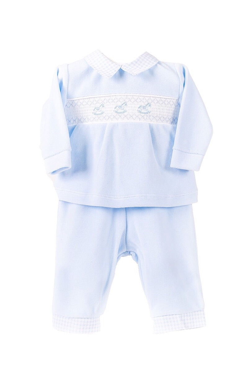 Blue Smocked Rocking Horse Velour Top And Pants